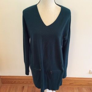 Ralsey teal sweater tunic with zip pockets
